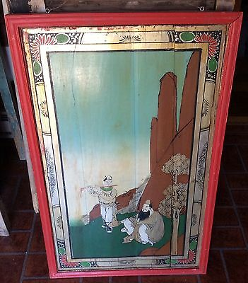 Rare Original Antique Oriental/Asian Oil On Real Wood Painting Framed Signed