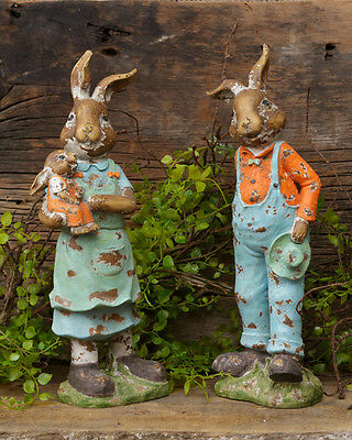 PAIR Vintage Style Sweetbrier Rabbit Bunny Family Figurines 12""