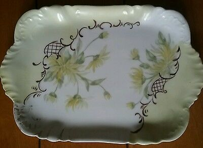 Haviland Limoges CFH GDM France Floral Small Rectangle Plate Dish Tray Yellow