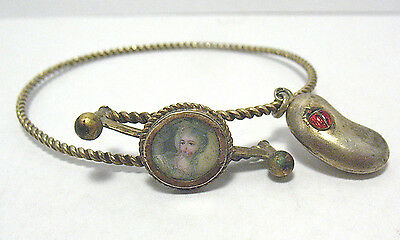 Rare Victorian Gold Filled Hand Painted Portrait Lucky Bean Charm Bangle 1898