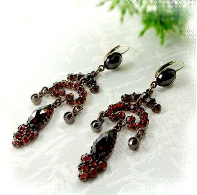Vintage garnet festoon earrings w/14ct gold wires in Victorian style/6TCO E#PK