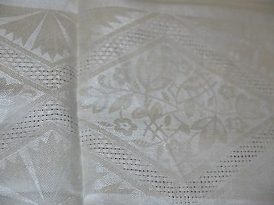 Antique*Vintage*Art Deco*Linen*Damask*Tablecloth*NOS*never used*Cutwork*NR