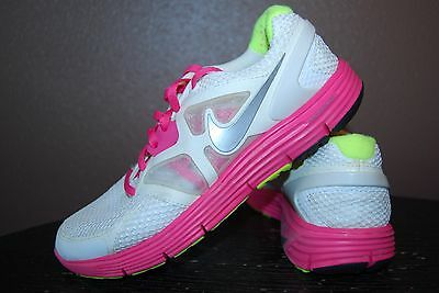 Nike Lunarglide 3 Girls Athletic Shoes - Size 4.5 Y - White, Pink, Yellow