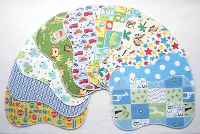 10 New Baby Boy ~ Double Flannel Burp Cloths Lot Shower Gift