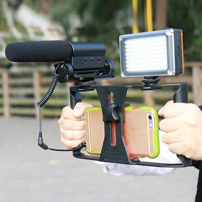 Video Camera Cage Rig Dual Handle Grip for Smartphone LED Light Microphone
