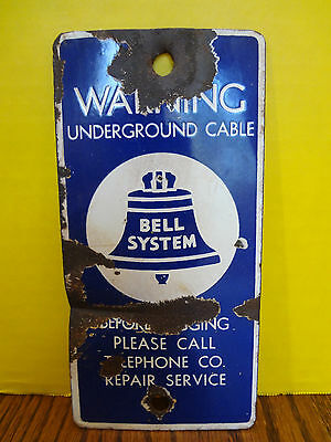 Porcelain Bell System Sign Warning Underground Cable ~FAST S/H~