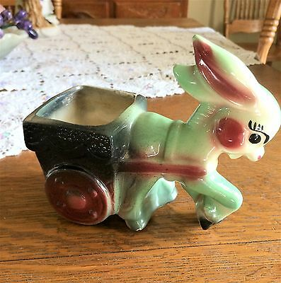 Adorable Donkey Pulling Cart Planter American Bisque