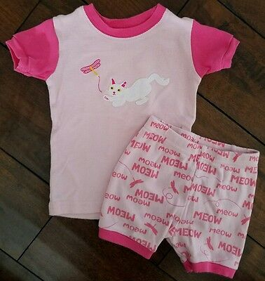 LEVERET BABY Toddler Girl Kitty Short Pajama 2 Piece Set Size 18-24 Months