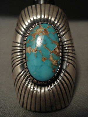 One Of The Biggest Ever Vintage Navajo Turquoise Silver Ring Old