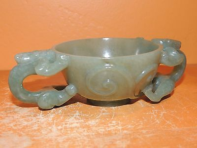 Antique Nephrite Jade Libation Cup Chilong Qing/ Ming 19th or earlier Dragon Chi