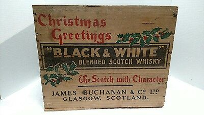"""Vintage """"Black & White"""" Blended Scotch Whisky Christmas Greetings Wood Crate/Box"""