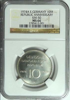 CHEAP!  East Germany 1974-A 10 Mark, 25th Anniversary, NGC MS66