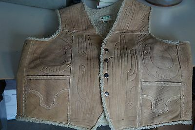 Vintage Western Theme Suede Leather Vest With Faux Sheepskin Lining XL