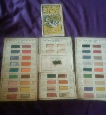 Antique Rare Putnam Dyes Vintage Textile Sample Salesman Advertising Book