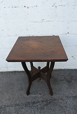 Late 1800s Victorian Eastlake Solid Oak Side Center Table 8265