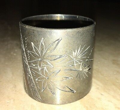 Vintage Antique Poinsettia Silver Plated Napkin Ring