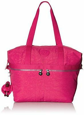 Kipling Matty Tote Vibrant Pink Weekender Gym Summer Beach Bag Duffel