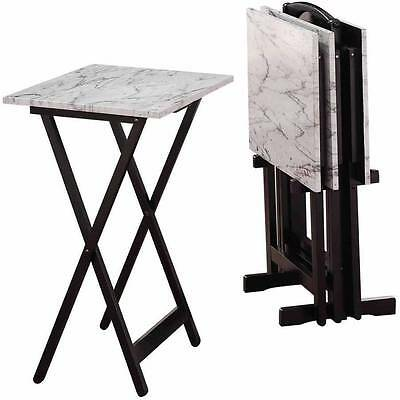 5 Piece White Faux Marble TV Tray Set Rectangular Folding Table Snack Room New