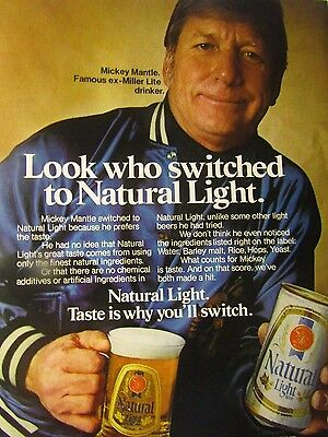 Mickey Mantle 1981 Natural Light Original Print Ad-Yankees 8.5 x 10.5""