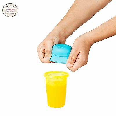 Silicone Sippy Cup Cover With Straw For Toddler Baby Spill-pro BPA Free Set of 3