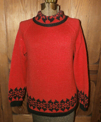 Handmade VINTAGE Pull-over SWEATER Sz M Red Black TOP Turtle-neck