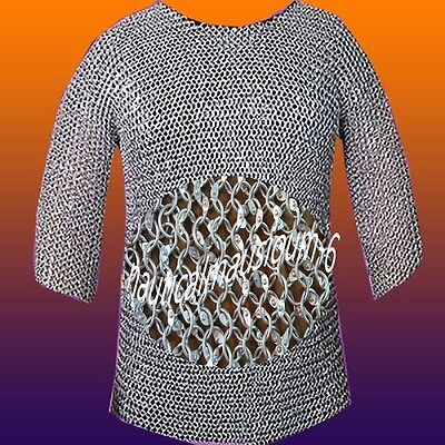 Chain mail Round Rivet Hubergion Half Sleeve Shirt Large Size Shirt A1