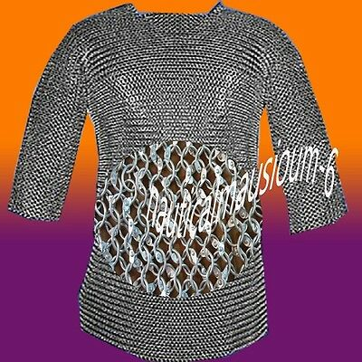 Round Rivet Hubergion Half Sleeve Shirt Medium Size Chainmail Shirt