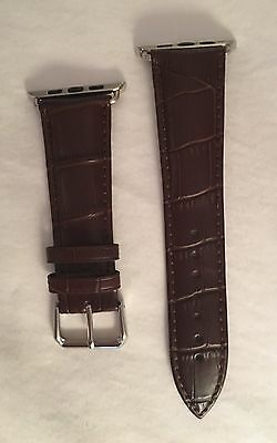New Apple Watch 42mm Brown Genuine Leather Band 2 Piece Strap Fits Series 1 & 2