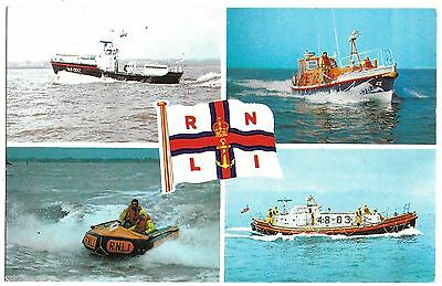 Vintage Postcard. R.N.L.I. Lifeboats - Rother/Waveney/ Solent/Inshore.Ref:73404