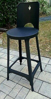 Vintage Retro Industrial Drafting Shop  Metal Stool W/back  Steampunk Art Deco
