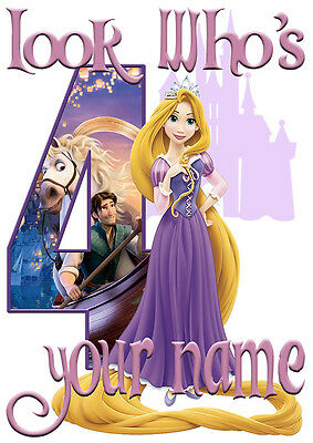 Disney Princess Rapunzel Personalised Girls T-Shirt Age 4 Ideal Gift/Present