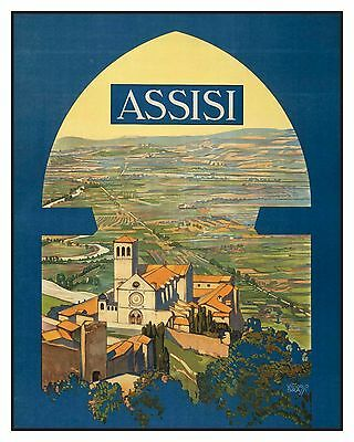 Historic Vintage Advertisement Reprint Art Picture: ASSISI ITALY Travel Poster