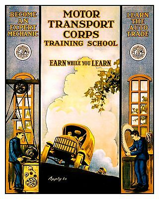 Historic Vintage Advertisement Reprint Picture: MOTOR TRANSPORT SCHOOL Military