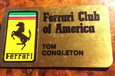 FERRARI Club of America Original Name Badge