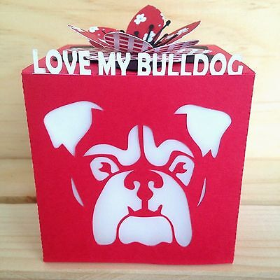 Love My Bulldog Gift Greeting Card Luminary - Red