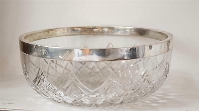"Large Antique German Stone Cut Bowl w/Silver Rim by Gebruder Kuh 9.5"" c.1900"