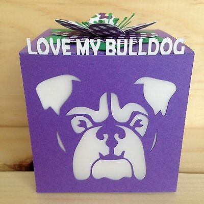 Love My Bulldog Gift Greeting Card Luminary - Purple