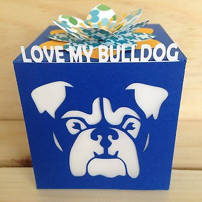 Love My Bulldog Gift Greeting Card Luminary - Blue