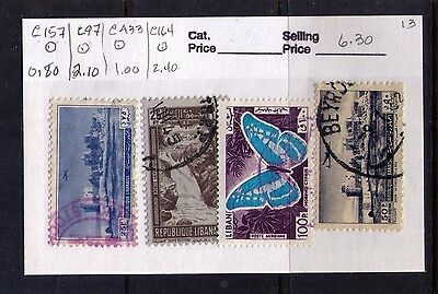 LEBANON,LIBAN AIRMAIL STAMPS SC# C97;157;433;164 Used