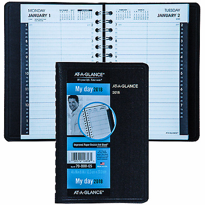 """2018 At-A-Glance 70-800 Daily Appointment Book, 4-7/8 x 8"""", Black Cover"""