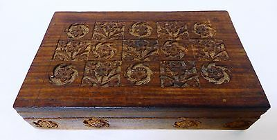 Vintage Hard Carved Wood Jewelry/Trinket Lined Box