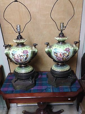 Pair of Hand Painted, Signed, Porcelain Table Lamps with Silk Shades