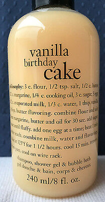 Philosophy Vanilla Birthday Cake Shampoo Shower Gel Bubble Bath 8 Oz MADE IN USA