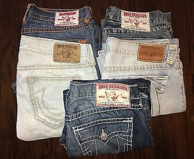 Men's True Religion Dark & Light Wash Jeans Size 38 Lot of 5 pairs