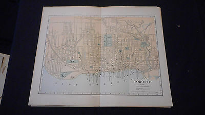 Toronto Canada Street  Color Map 1885 Beautiful 10 1/2 X 13 See Others