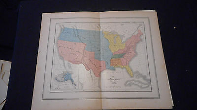 Territorial Growth Us  Color Map 1882 Beautiful 10 1/2 X 13 See Others