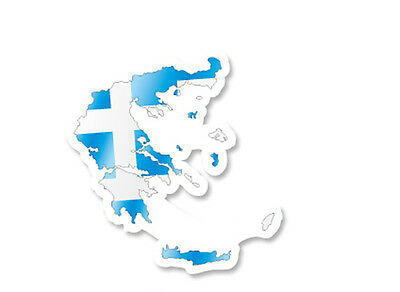 "Greece National Flag Map Luggage Label 3""x3"" Travel Suitcase Decal Sticker"
