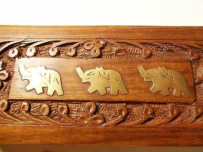 """Gold Elephant Wood Pencil Box Trunks Up Feng Shui Lucky Wisdom 8"""" Incense Pens"""