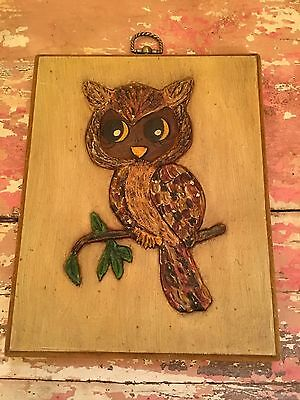 Vintage Handmade Mid Century Modern Owl 3D Picture Retro