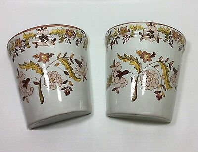 Pair Of Hand Painted Floral Ceramic Wall Pockets Gold Brown Made In Portugal